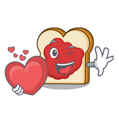 With heart bread with jam mascot cartoon vector