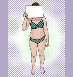 Woman in a swimsuit holds a sign pop art vector