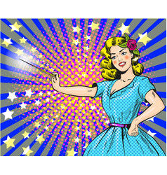 Woman with magic wand pop vector