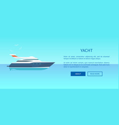 yacht rent advertisement poster web page design vector image