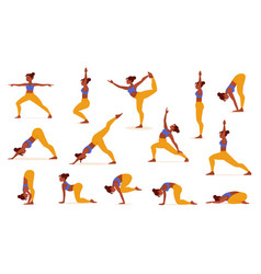yoga poses for lifestyle design healthy female vector image
