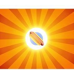 Hot Dog on orange background vector image vector image
