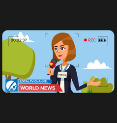 tv reporter presenting news concept video vector image
