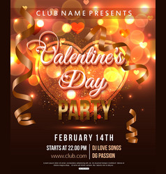 Valentines Day Party Flyer with shiny heart and vector image
