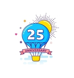 Anniversary background with hot air balloon vector image
