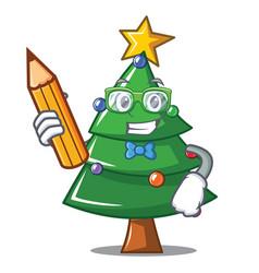 Student christmas tree character cartoon vector