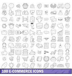 100 ecommerce icons set outline style vector image vector image