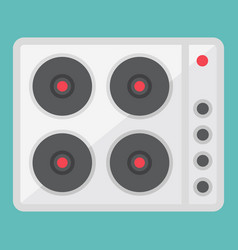 Electric hot plate flat icon electrical stove vector