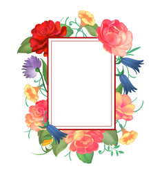 postcard with a square frame of roses vector image vector image