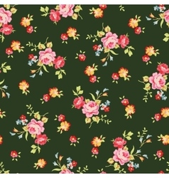 Seamless floral pattern with little pink roses on vector image vector image