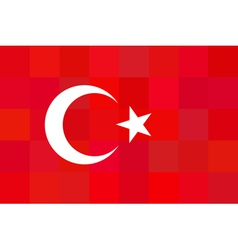 Turkey flag on unusual red squares background vector image