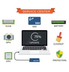 Upgrade your laptop with new components vector image vector image