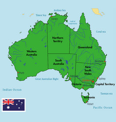 australia map with regions and their capitals vector image vector image