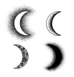 Hand drawn moon phases silhouettes vector image