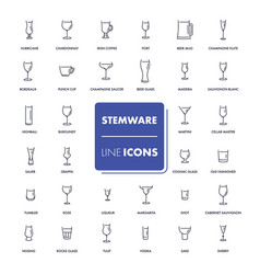 line icons set stemware vector image vector image