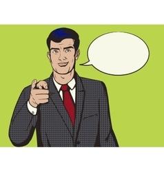 Man pointing forward finger pop art style vector image