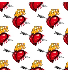Pattern of a flaming heart pierced by an arrow vector image vector image