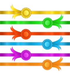 set of ribbons medals vector image