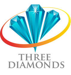 three diamond vector image