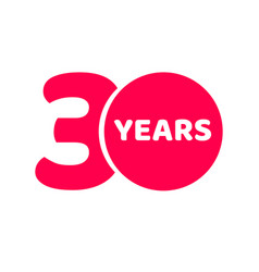 30 years anniversary logo template isolated red vector image