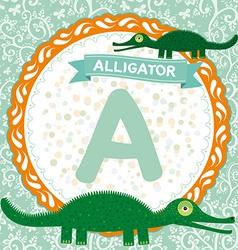 Abc animals a is alligator children english vector
