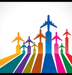 Abstract colorful background with airplane vector image