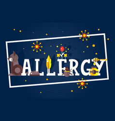 Allergy typographic poster booklet cover vector