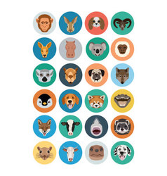 Animals flat colored icons 2 vector