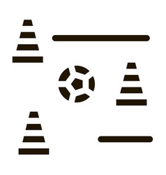 Ball and training cones icon vector