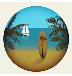 Beach with palm trees and surfboard vector