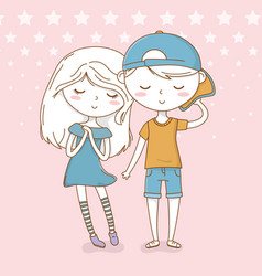 Beautiful little kids couple with dotted vector