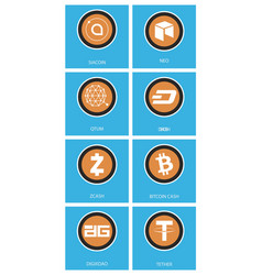 Big set of crypto currency logo coins lumens vector
