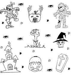 Black and white Halloween doodle vector