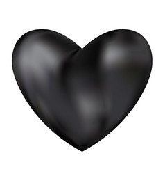 black love heart isolated on white background vector image
