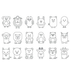 black outline various adorable cartoon animals vector image