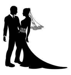 bride and groom wedding couple silhouette vector image