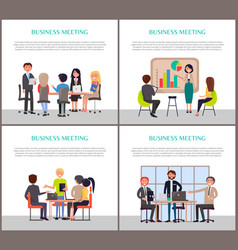 Business meeting posters with people at work set vector