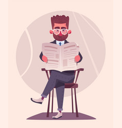 businessman is reading a newspaper cartoon vector image