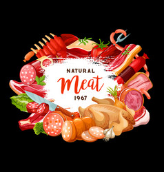 Butcher shop and gourmet cooking meat sausages vector