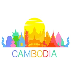 Cambodia travel landmarks vector