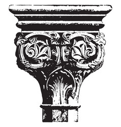 Capital twelfth century vintage engraving vector