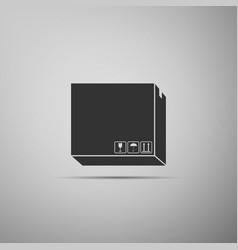 carton cardboard box with traffic symbols icon vector image