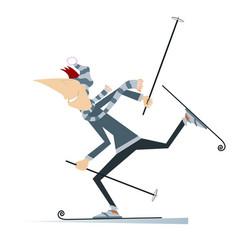 cartoon skier man vector image
