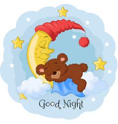 Cartoon teddy bear sleep on moon vector