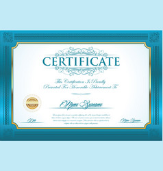 Certificate or diploma retro vintage design vector