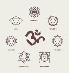 Chakra symbols line style set and om calligraphy vector