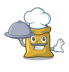 chef with food flour mascot cartoon style vector image