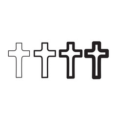 Christian cross icon set in flat design abstract vector