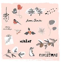 Christmas cute cartoon clipart with vector