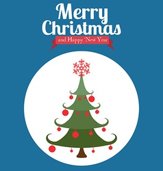 Christmas design over blue background vector image vector image